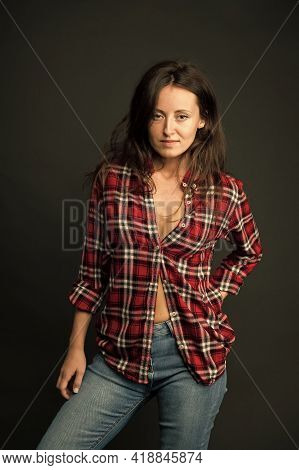 She Prefers Casual Style. Country Style. Woman Checkered Shirt. Attractive Confident Girl Black Back