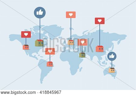 World Map With Houses In Different Countries And Hearts And Likes Signs. Homestay Booking, Choosing