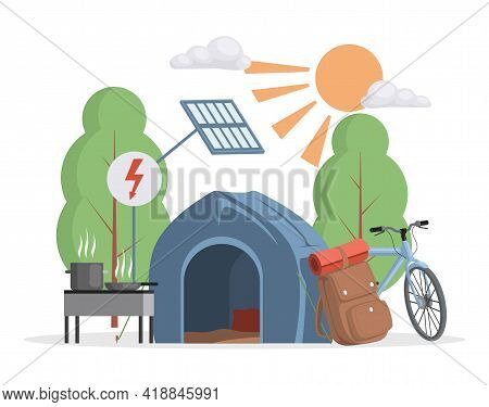 Summer Camping Scene Vector Flat Illustration. Camping Tent, Bicycle, Traveler Bag Pack And Grilled