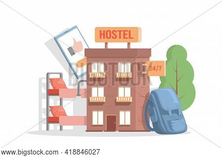 Modern Exterior Of Hostel For Tourists And Travelers Vector Flat Illustration. Cheap Place To Stay F