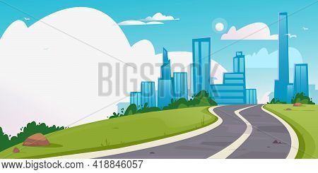 Vector Of A Winding Road Leading To A Big City. Banner With Empty Place For Text. High-rise Building