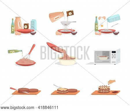 Preparation Of Sweet Tasty Birthday Cake Step By Step Vector Flat Illustration Isolated On White Bac