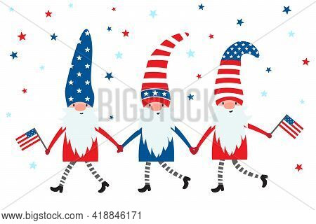 4th Of July. Usa Patriotic Gnomes In Colors Of American Flag, With Stars And Stripes. Cute Garden Gn