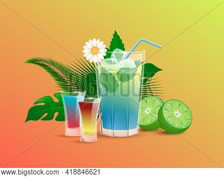 Refreshment Alcoholic Drinks With Lime, Ice Cubes, Straws, And Tropical Leaves. Colorful And Fresh S