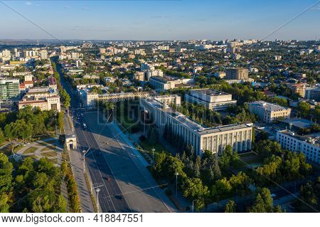 Chisinau, Moldova, August 2020: Aerial view of Great National Assembly Square and Government House in the center of Chisinau, capital of Moldova, at sunset