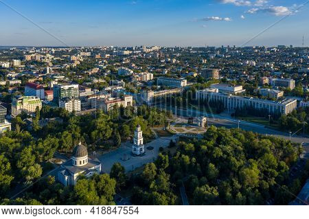 Chisinau, Moldova, August 2020: Aerial view of Cathedral Park and Government House in the center of Chisinau, capital of Moldova, at sunset