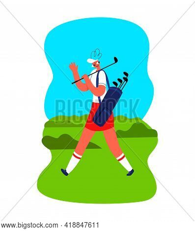 An Young Female Golfer Walks Across The Lawn
