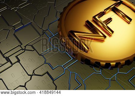 Nft Non Fungible Token On A Hard Surface Motherboard. Crypto Currency. 3d Rendering