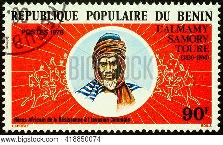 Moscow, Russia - April 30, 2021: Stamp Printed In Benin, Shows Samori Ture (1830-1900), Muslim Cleri