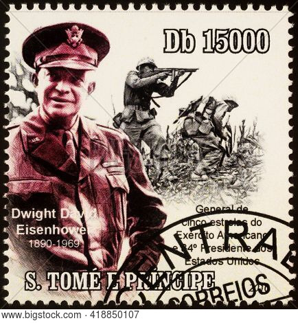 Moscow, Russia - April 29, 2021: Stamp Printed In Sao Tome And Principe, Shows Dwight Eisenhower, Su
