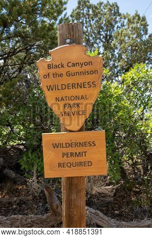 Black Canyon Wilderness Permit Sign Marks The Boundary Of The Backcountry