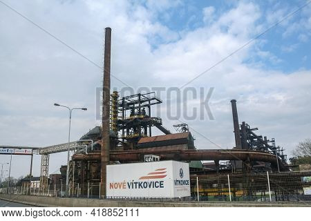 Ostrava, Czechia - April 6, 2014: Entrance To Nove Vitkovice Complex With A Focus On The Steel Facto