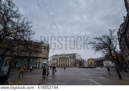 Subotica, Serbia - November 20, 2020: Facade Of National Theater Of Subotica, With Mention National