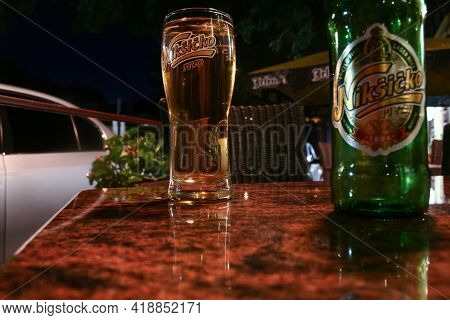 Niskic, Montenegro - July 19, 2014: Selective Blur On A Beer Glass With The Logo Of Niksicko Pivo In