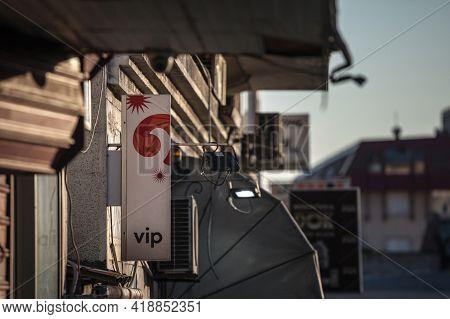 Belgrade, Serbia - April 24, 2021: Vip Logo Logo On Their Main Shop In Belgrade. Vip Mobile, Or Vipn