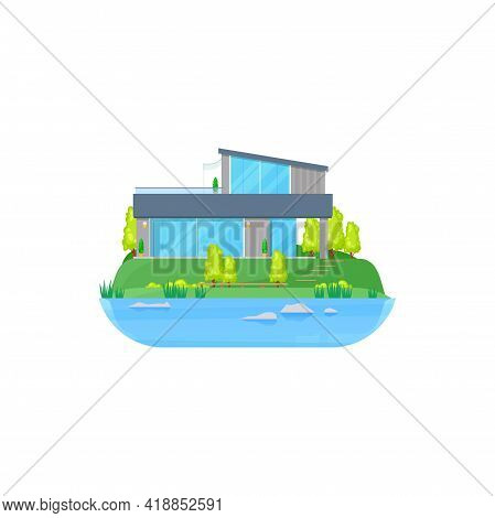 House At Lake, Cottage Or Villa Mansion At Water, Country Home, Vector Building. Residential Estate