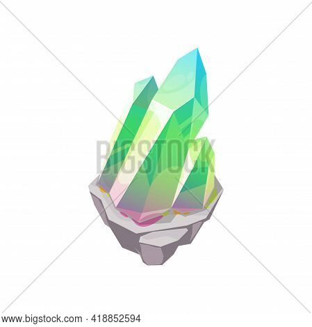 Crystal Gem Or Gemstone Quartz, Jewel Stone Rock, Vector Isolated Icon. Emerald Jewelry Mineral, Pre