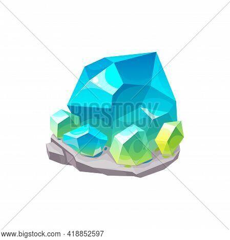 Crystal Gem Or Gemstone Quartz, Jewel Blue Diamond, Vector Precious Stone Rock Isolated Icon. Blue G