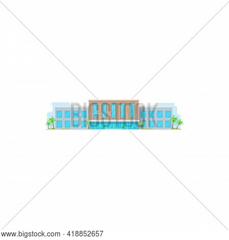 School Building, Education Or University Architecture, College House, Vector. Elementary Or Primary