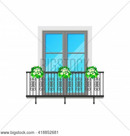 Balcony Window With Fence Railing, Vector Building Architecture And House Facade. Balcony With Glass