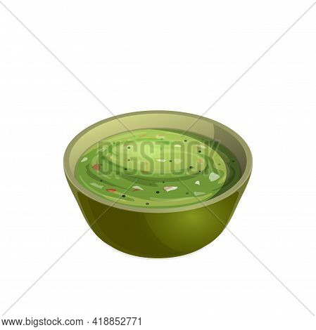Avocado Guacamole Sauce Isolated Salsa In Bowl Realistic Mexican Food Icon. Vector Traditional Spani