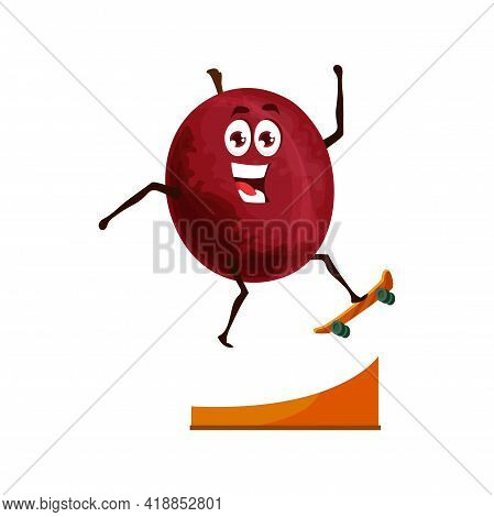 Plum Fruit On Skateboard, Healthy Food Cartoon Vector Character. Fruit Vitamins In Sport, Healthy Nu