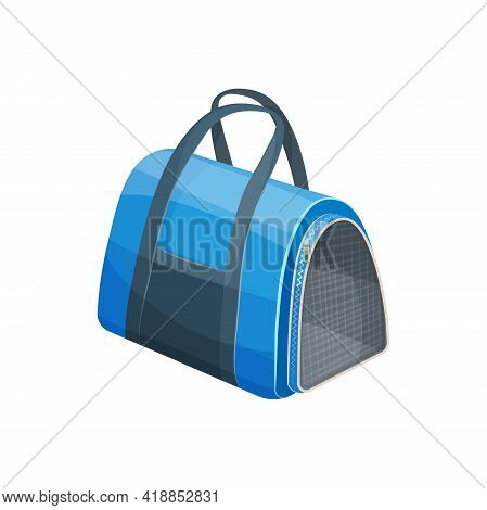 Cats Bag, Pets Travel Carrier Or Portable Handbag, Vector Animals Care Accessory. Pets Carry And Tra