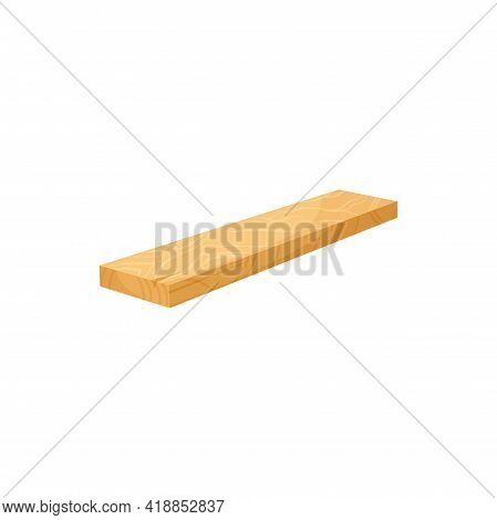 Rasped Plane Parquet Hardwood Isolated Flat Cartoon Icon. Vector Carpentry Timber Piece, Rough Drift