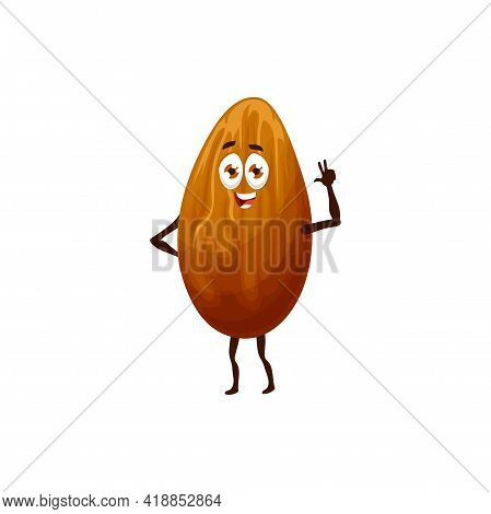 Funny Bean Peanut Isolated Grain Or Seed Of Funny Emoji Emoticon. Vector Funny Cocoa Bean, Dried And