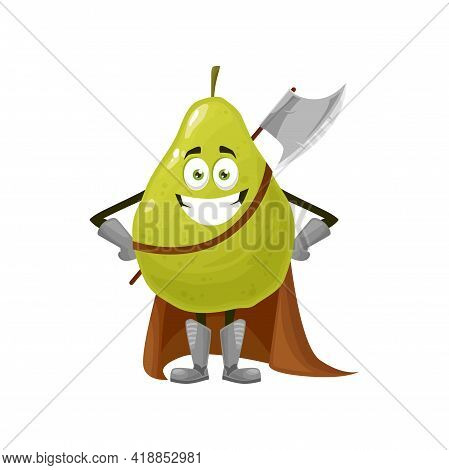 Pear Fruit Superhero Cartoon Character, Vector Food In Super Hero Costume. Happy Pear Fruit As Knigh