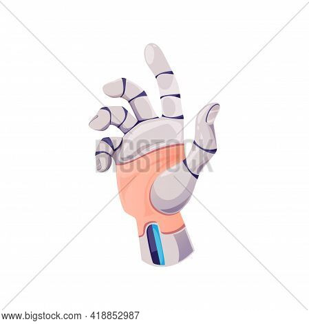 Hand Of Robot Cyborg, Artificial Machine Arm, Vector Future Tech And Cyber Technology. Cyborg Hand O