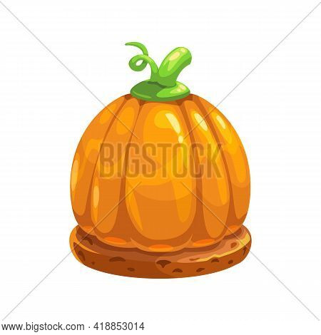 Candy Halloween Party Food Snack Isolated Pumpkin On Pastry Cookies. Vector Gingerbread Confection A