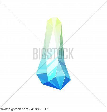 Turquoise Many Color Gemstone Isolated Shiny Precious Stone Geology Mineral. Vector Tourmaline Semi