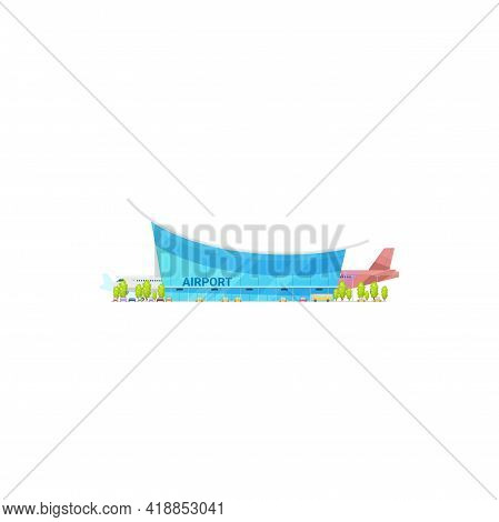 Airport Glass Building Facade And Aerodrome With Shuttle Plane Isolated. Vector Terminal And Airline
