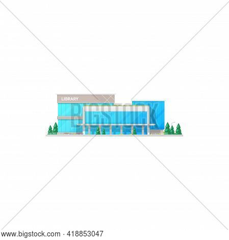 Library Study And Education House, Contemporary Building Facade Exterior Design Isolated. Vector Gla