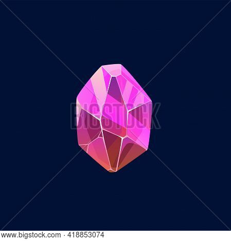 Pink Gem Stone, Magic Crystal Vector Icon. Semiprecious Or Precious Raw Mineral Piece, Topaz Stone O