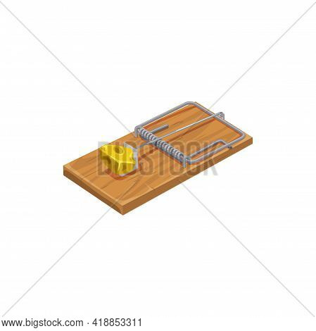 Mousetrap Icon, Pest Control Extermination And Deratization Trap Device, Isolated Vector. Mouse Or R