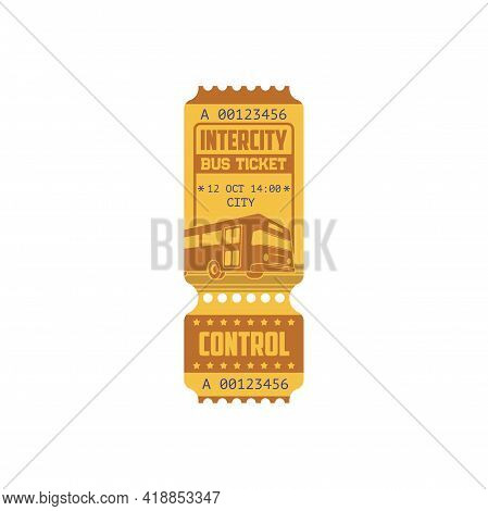 Bus Ticket On Intercity Public Transport Isolated Boarding Pass, Tire-off Control Line. Vector Retro