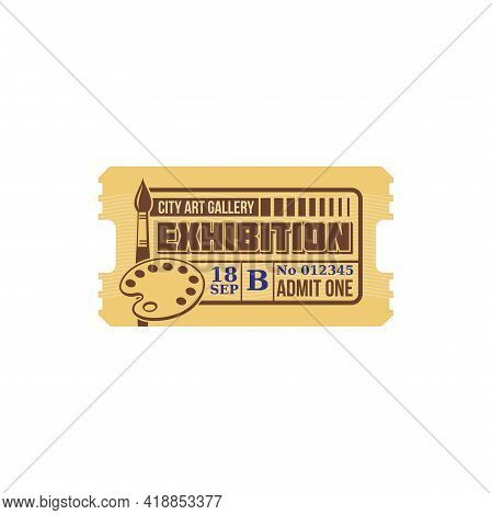 Coupon To Art Gallery Exhibition Isolated Retro Ticket Mockup. Vector Admit One To See Paintings And
