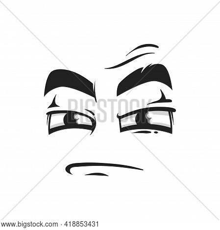 Cartoon Face Vector Icon, Suspecting Emoji With Squinted Eyes And Closed Mouth. Facial Expression, S