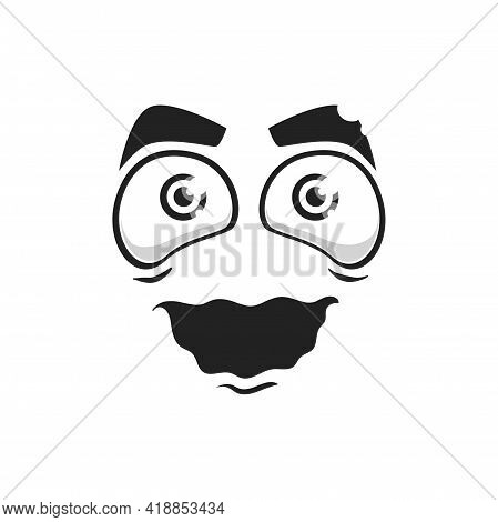 Cartoon Face Isolated Vector Crazy Smile With Wide Open Hypnotized Eyes And Tremble Mouth. Funny Fac