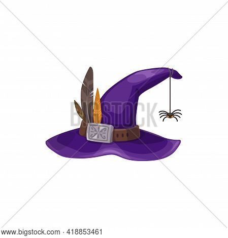 Cartoon Witch Hat Vector Icon, Purple Magician Headwear With Silver Buckle, Feathers And Spider Hang