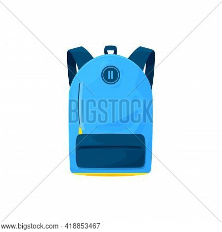 Kids Schoolbag Isolated Vector Icon, Cartoon Student Rucksack Of Blue Color With Slip Pocket And Zip