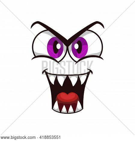 Cartoon Face Isolated Vector Icon, Facial Gloat Emoji Of Funny Creature, Emotion Toothy Smile With B