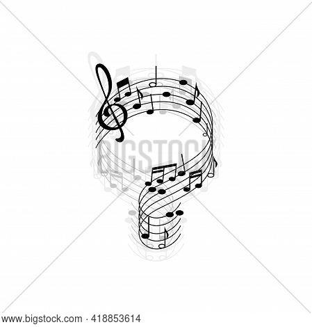 Treble Clef And Notes Isolated Abstract Music Sheet Shadow Reflection Monochrome Icon. Vector Curve