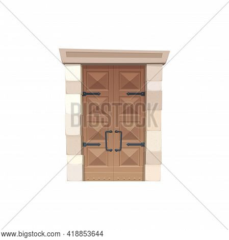 Retro Gate Of Wood And Stone Isolated Icon. Vector Fairytale Or Medieval Rectangular Enter. Entry In
