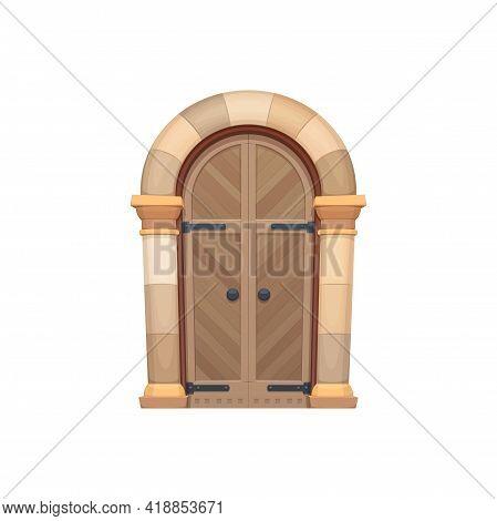 Gate, Fairytale Oak Wood Door And Doorway Of Stone, Door To Dungeon Isolated Flat Cartoon Icon. Vect