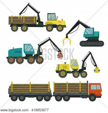 Big Set Of Forestry Vehicle. Vector Illustration.