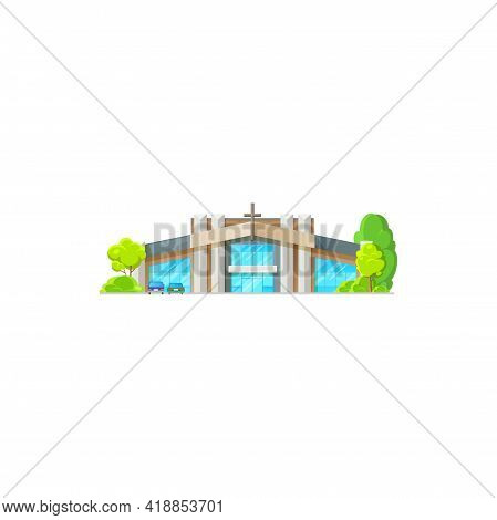 Catholic Community Building Isolated Church With Glass Hall, Modern Architecture House With Cross. V