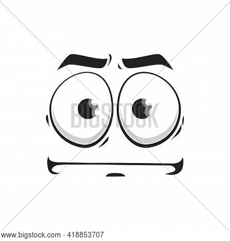 Cartoon Face Vector Indifferent Emoji, Facial Expression With Glazed Goggle Eyes And Pursed Straight